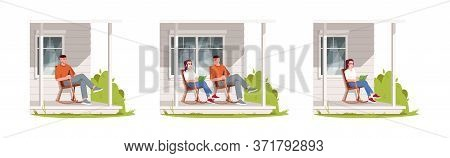 People Relax On Patio During Daytime Semi Flat Rgb Color Vector Illustration Set. Man And Woman Sit