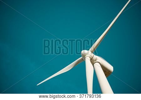 Wind turbine for electric power production, Zaragoza province, Aragon in Spain.