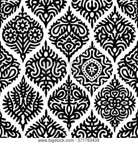 Black And White Ogee Seamless Pattern. Elegant Print For Textiles.