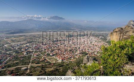 View Of Scenery Landscape And Kalambaka Village In Famous Greek Tourist Destination Meteora In Greec