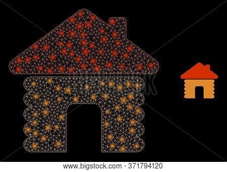 Glowing Web Network Wooden House With Glowing Spots. Illuminated Vector 2d Model Created From Wooden