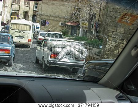 Azerbaijan, Baku - April 30, 2007: Classic Soviet Vintage Sedan Car Lada Vaz 2107 With Trunk That Is