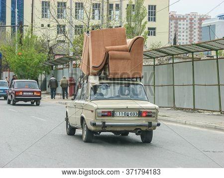 Azerbaijan, Baku - April 30, 2007: Classic Soviet Vintage Sedan Car Lada Vaz 2103 With Trunk That Is