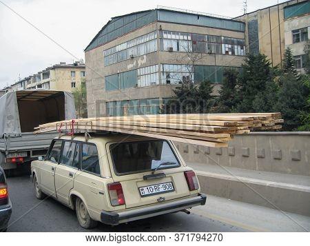 Azerbaijan, Baku - April 27, 2007: Classic Soviet Vintage Sedan Car Lada Vaz With Trunk That Is Over
