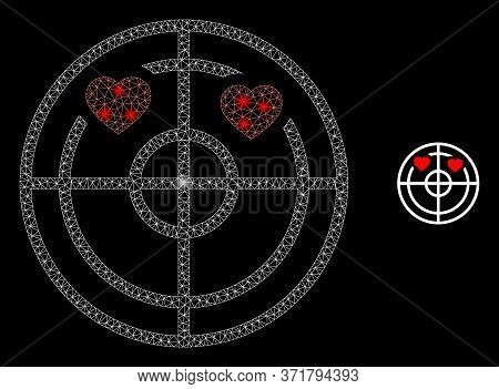 Glowing Web Mesh Love Hearts Radar With Light Spots. Illuminated Vector 2d Constellation Created Fro