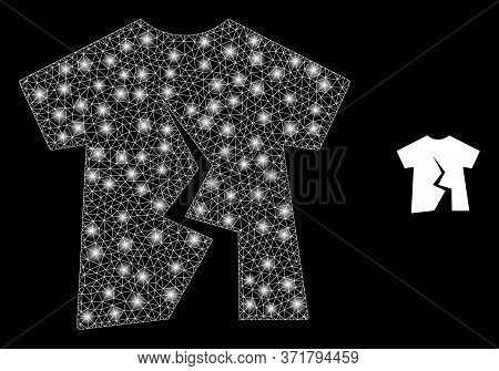 Glowing Web Mesh Torn T-shirt With Glowing Spots. Illuminated Vector 2d Model Created From Torn T-sh