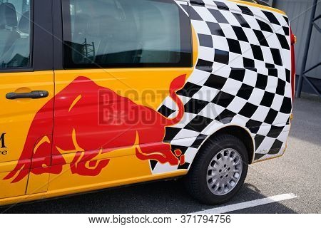 Bordeaux , Aquitaine / France - 10 30 2019 : Red Bull Van Bus Delivery Truck Parked Redbull Energy D