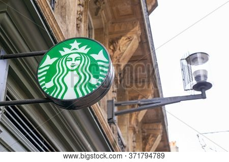 Bordeaux , Aquitaine / France - 10 30 2019 : Starbucks Coffee Store Bar Logo Shop Sign American Coff