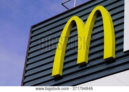 Bordeaux , Aquitaine / France - 11 07 2019 : Mcdonald's Large Store Logo Sign American Hamburger Fas