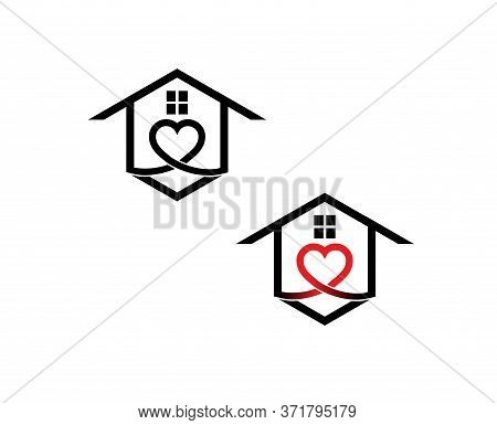 House With Red Heart As A Shelter Home Logo Design