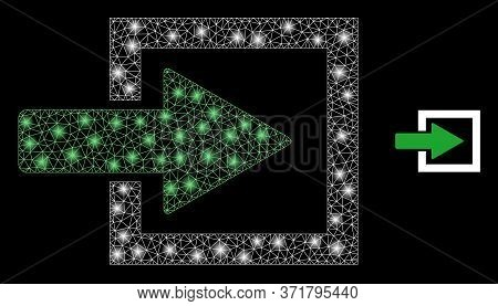 Glare Web Mesh Import Arrow With Lightspots. Illuminated Vector 2d Model Created From Import Arrow I