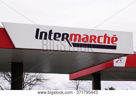 Bordeaux , Aquitaine / France - 03 12 2020 : Intermarche Brand Sign Shop French European Supermarket