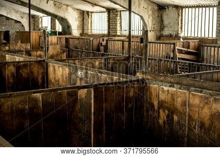 Corrals For Livestock In The Barnyard, Cages For Livestock On The Farm