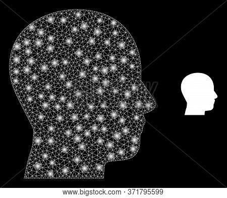 Bright Web Mesh Man Profile With Glowing Spots. Illuminated Vector 2d Constellation Created From Man