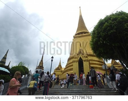 Wat Phra Kaew, Temple Of The Emerald Buddha,bangkok Thailand-08 June 2019:landmark Of Thailand In Wh