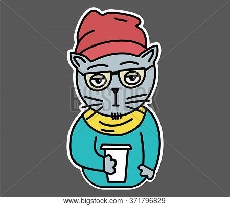 Hipster Cat In Glasses, Clothes, Hat, Scarf, Sweater Drinking Coffee. Flat Style Sticker For T-shirt