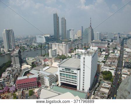 Bangkok Thailand-01 February 2019:pollution Central Bangkok Image Of Bang Rak Area Long Distance, Vi