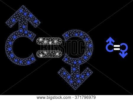 Bright Web Network Gay Relation Symbol With Glowing Spots. Illuminated Vector 2d Model Created From