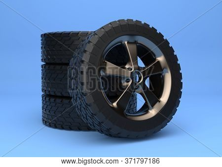 Car Wheels Isolated On Bright Blue Background In Pastel Colors. Alloy Wheels Tire Auto. Minimalist C