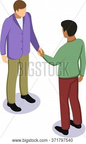 Black Afro And White Caucasian Man Shaking Hands. Tolerance, Friendship And No Racism Concept