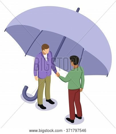 Black Afro And White Caucasian Man Shaking Hands Under Umbrella. Tolerance And No Racism Concept, Fr
