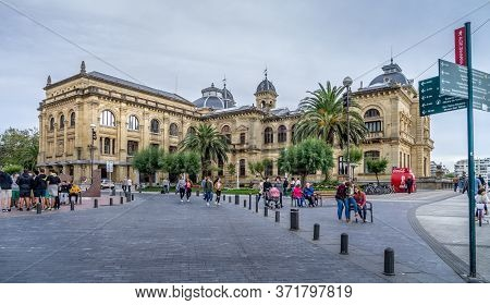San Sebastian, Spain - Sept 10, 2017. On The Side View Of San Sebastian City Hall. Also Called Donos