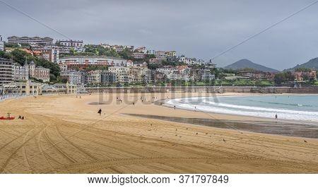 View Of La Concha Beach In San Sebastian, Spain Towards The End Of Tourist Season