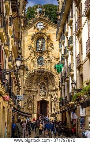 San Sebastian, Spain - Sept 11, 2017. Frontage Of St Mary Of Chorus Roman Catholic Basilica In Histo