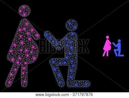 Glowing Web Mesh Pregnant Woman Engagement With Glowing Spots. Illuminated Vector 2d Constellation C