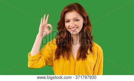 Everything Is Ok. Millennial Girl Gesturing Okay Sign Posing Smiling To Camera On Green Studio Backg