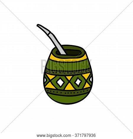 Yerba Mate Tea Doodle Icon, Vector Color Illustration