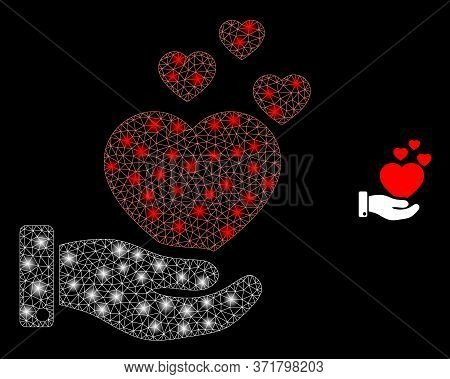 Bright Web Mesh Hand Offer Love Hearts With Light Spots. Illuminated Vector 2d Model Created From Ha