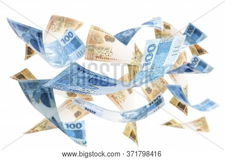 Fifty-one Hundred Reais Bank Notes Falling, Money From Brazil On