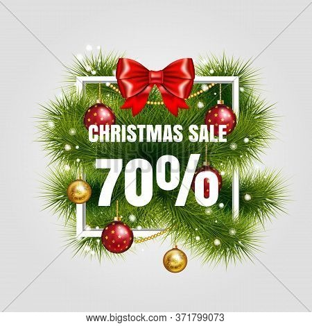Christmas Sale Sign Vector Label 70 Sale With Red Ribbon And Green Fir Tree Branches With Gold Chris
