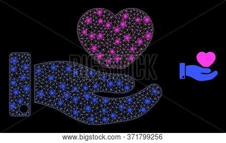 Glare Web Mesh Favourite Heart Offer Hand With Lightspots. Illuminated Vector 2d Constellation Creat