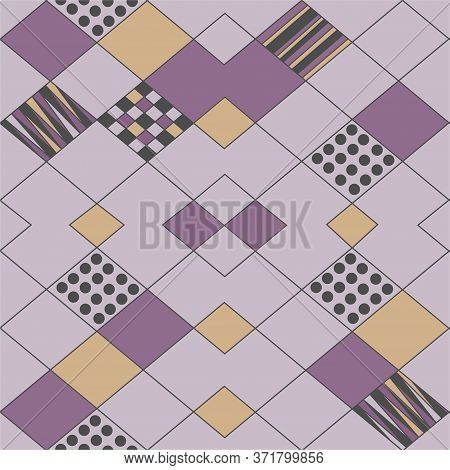 Abstract Of Geometric Shapes And Lines, Lilac And Beige With Gray On A Lilac Background. Seamless Ba