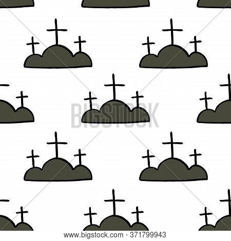 Calvary Seamless Doodle Pattern, Vector Color Illustration