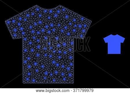 Bright Web Mesh Male T-shirt With Glowing Spots. Illuminated Vector 2d Constellation Created From Ma