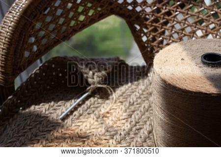 Skein Of Jute Rope, Cozy Crocheted Carpet Of Jute. Luxury Interior Accessories Made Of Organic Ecolo