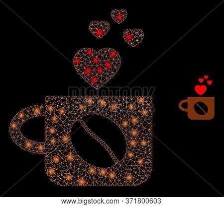 Glare Web Network Lovely Coffee Cup With Glowing Spots. Illuminated Vector 2d Constellation Created