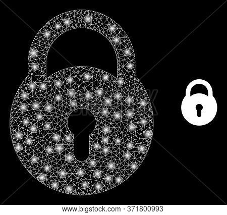 Bright Web Net Lock With Lightspots. Illuminated Vector 2d Model Created From Lock Icon. Sparkle Car