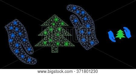 Shiny Web Net Fir Tree Care Hands With Light Spots. Illuminated Vector 2d Model Created From Fir Tre