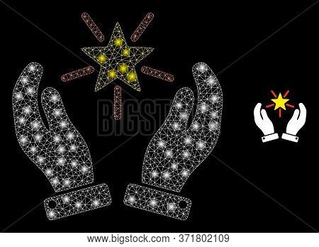Glowing Web Net Shine Star Care Hands With Glowing Spots. Illuminated Vector 2d Constellation Create