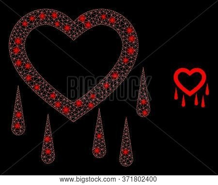 Glowing Web Mesh Crying Heart With Light Spots. Illuminated Vector 2d Constellation Created From Cry
