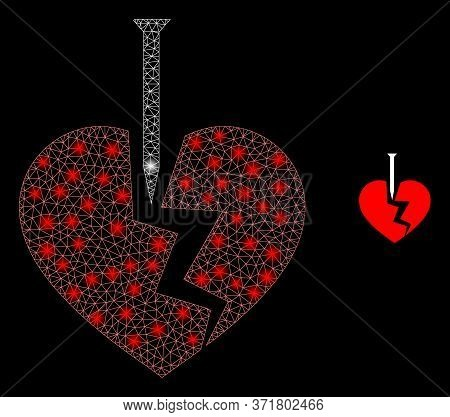 Shiny Web Mesh Break Valentine Heart With Glowing Spots. Illuminated Vector 2d Model Created From Br