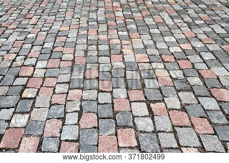 Abstract Background Of Paving Stones. Street Paving. Cobblestone Pavement. Background For Creativity