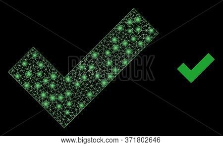 Shiny Web Mesh Apply Tick With Glowing Spots. Illuminated Vector 2d Constellation Created From Apply