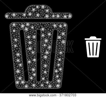 Bright Web Mesh Trash Can With Light Spots. Illuminated Vector 2d Constellation Created From Trash C