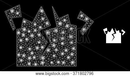 Glowing Web Network Destruction With Glowing Spots. Illuminated Vector 2d Model Created From Destruc
