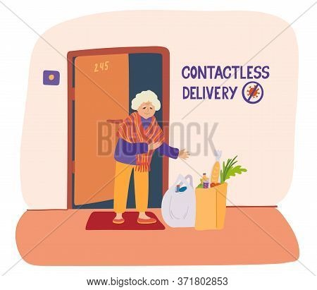 Contactless Delivery Poster. Hand Drawn Vector Lettering And Illustration Of A Senior Woman And Pack